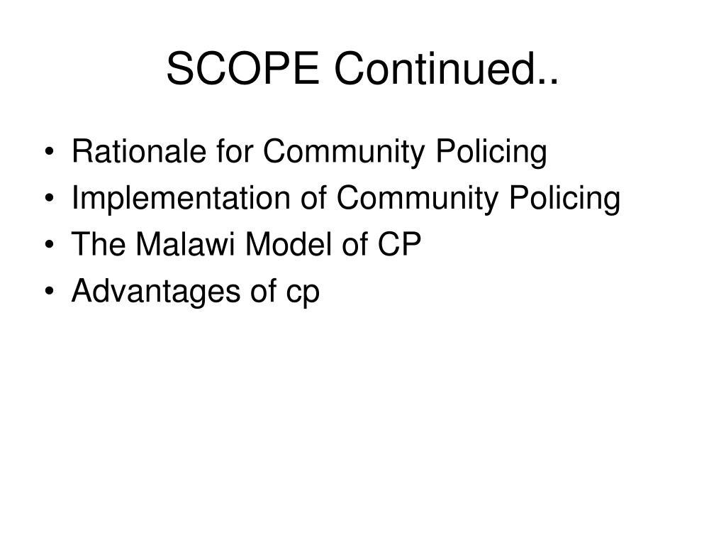 SCOPE Continued..