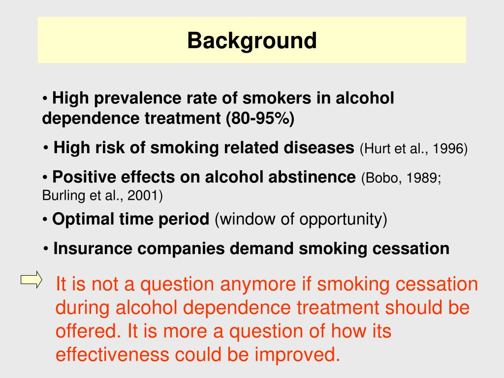 It is not a question anymore if smoking cessation during alcohol dependence treatment should be offered. It is more a question of how its effectiveness could be improved.