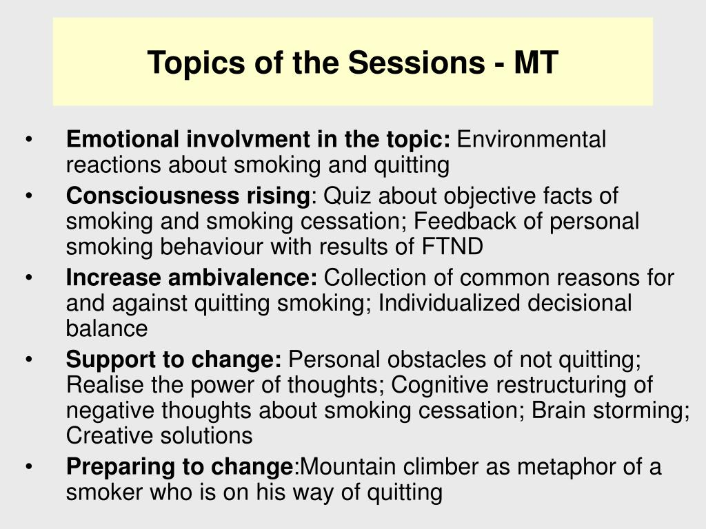 Topics of the Sessions - MT