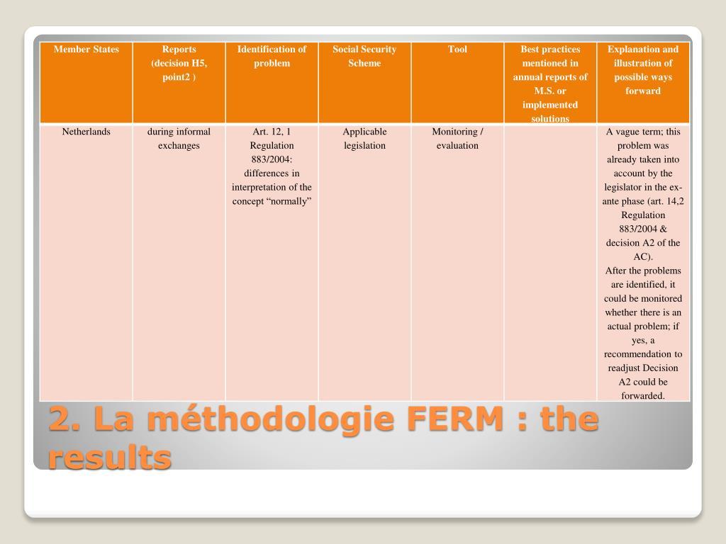 2. La méthodologie FERM : the