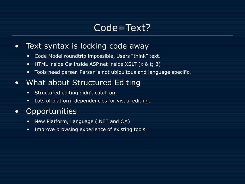 Code=Text?