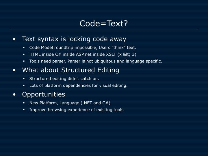 Code text