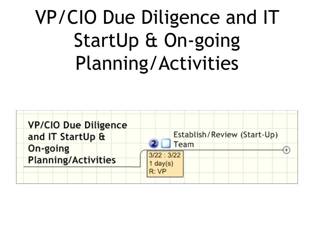 VP/CIO Due Diligence and IT StartUp & On-going  Planning/Activities