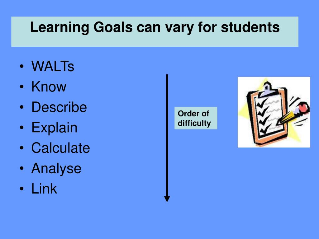 Learning Goals can vary for students
