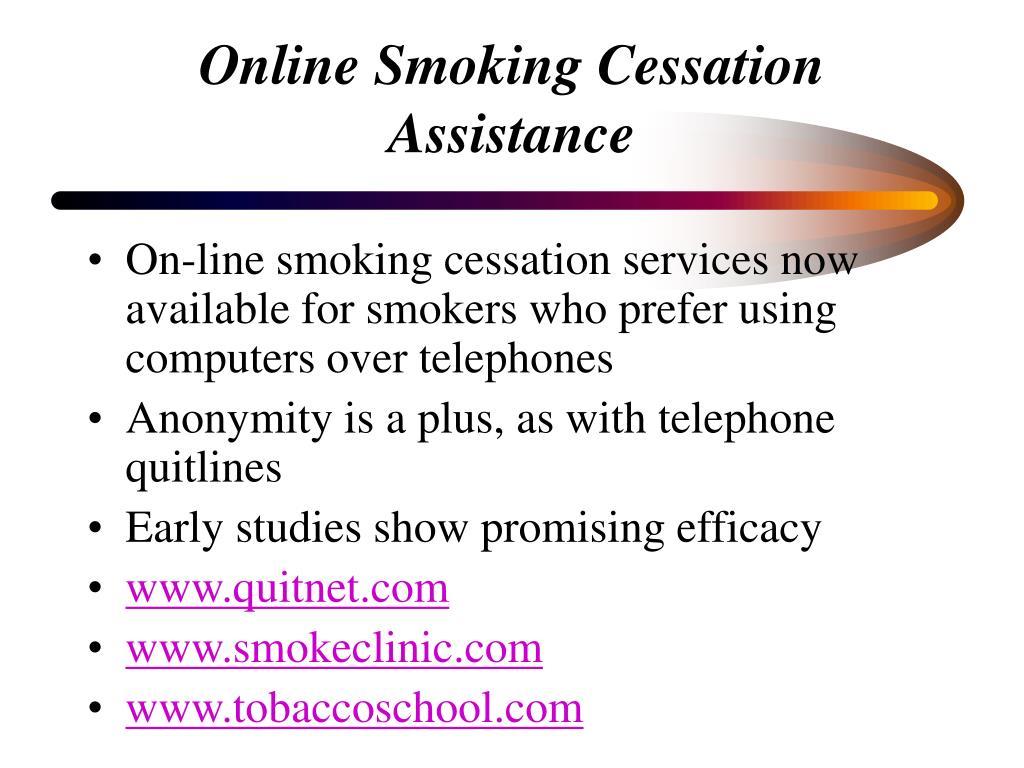 Online Smoking Cessation Assistance