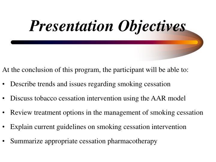 Presentation objectives