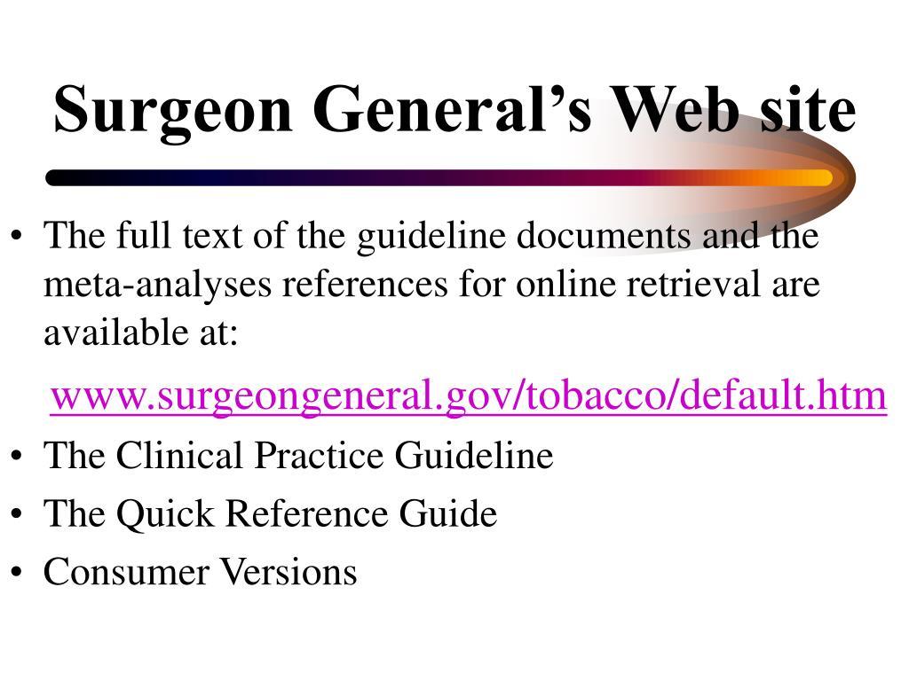 Surgeon General's Web site