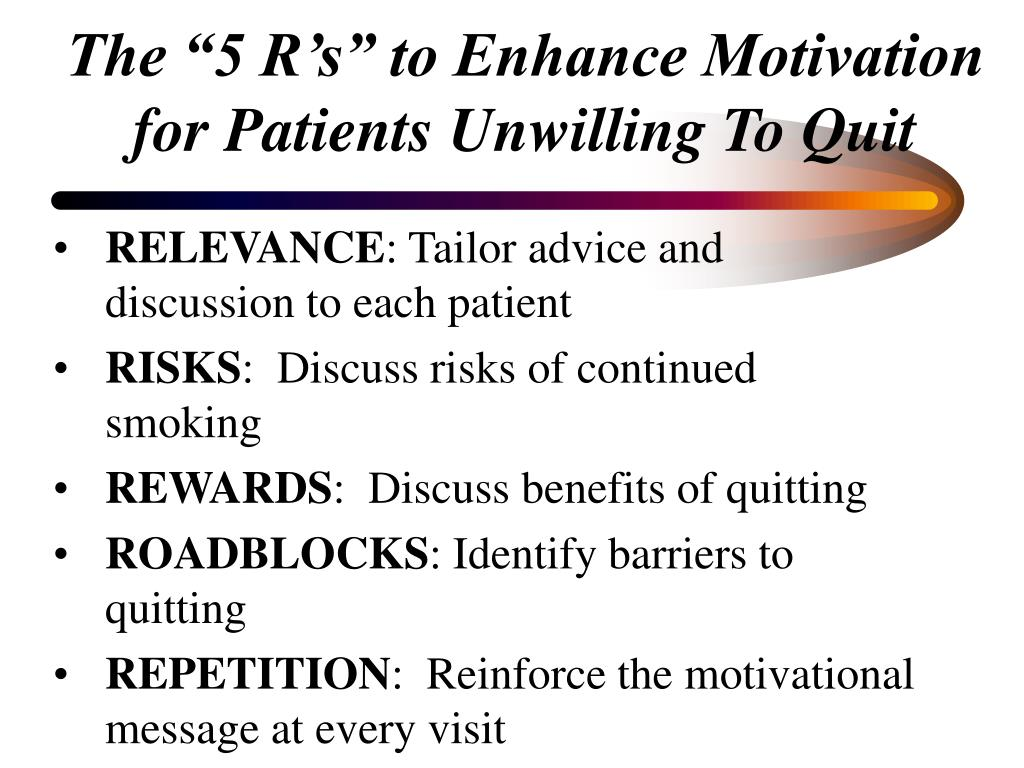 """The """"5 R's"""" to Enhance Motivation for Patients Unwilling To Quit"""