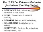 the 5 r s to enhance motivation for patients unwilling to quit