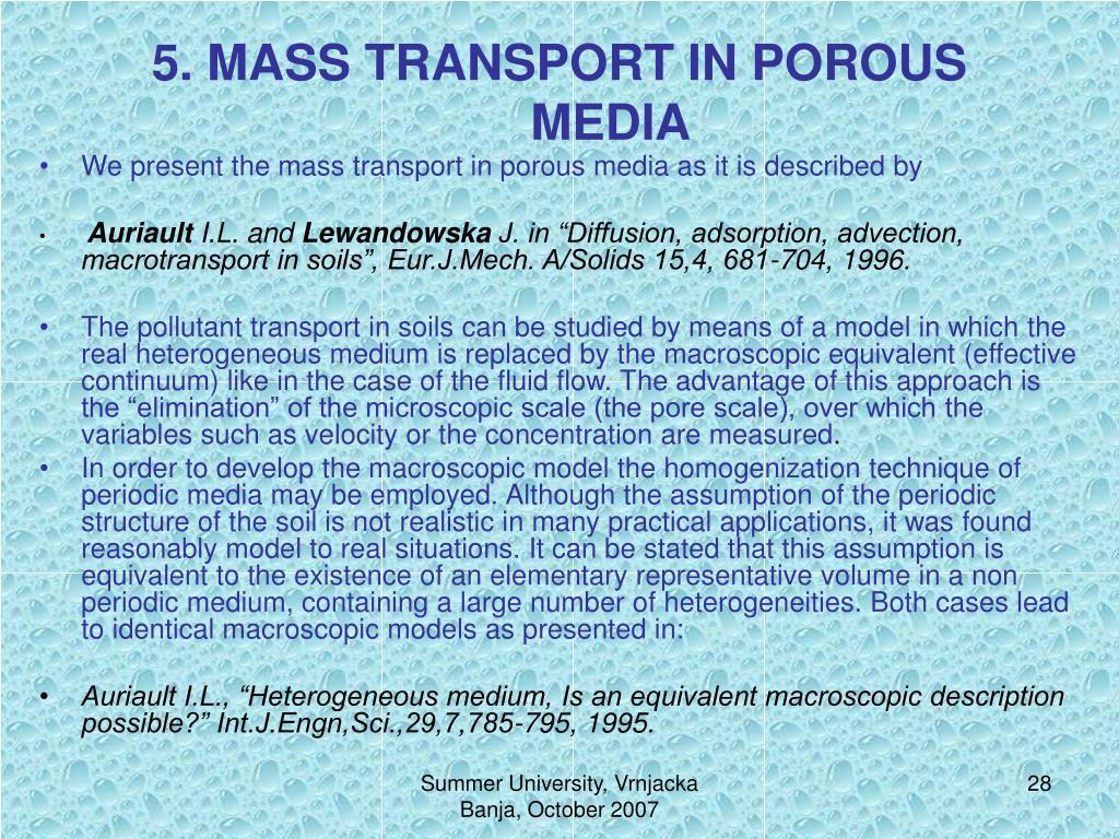 5. MASS TRANSPORT IN POROUS MEDIA