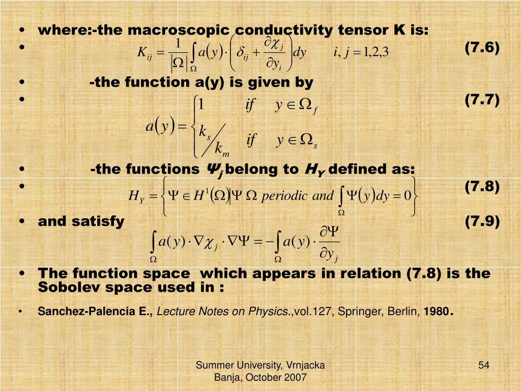where:-the macroscopic conductivity tensor K is: