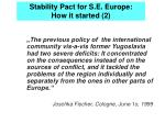 stability pact for s e europe how it started 2