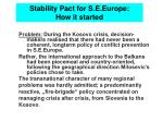 stability pact for s e europe how it started