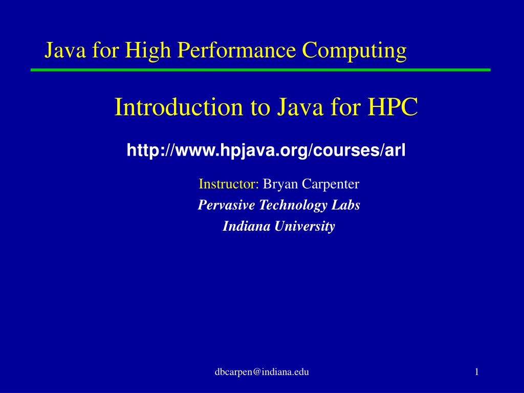 java for high performance computing l.