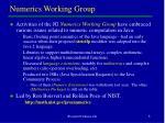 numerics working group