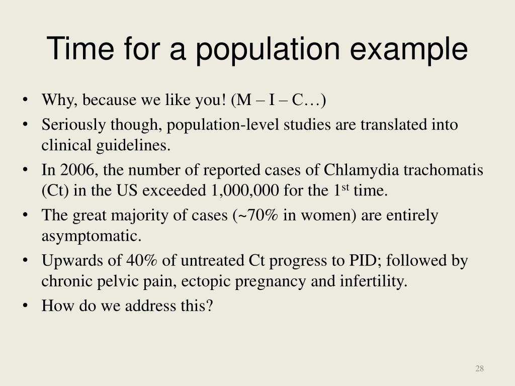 Time for a population example