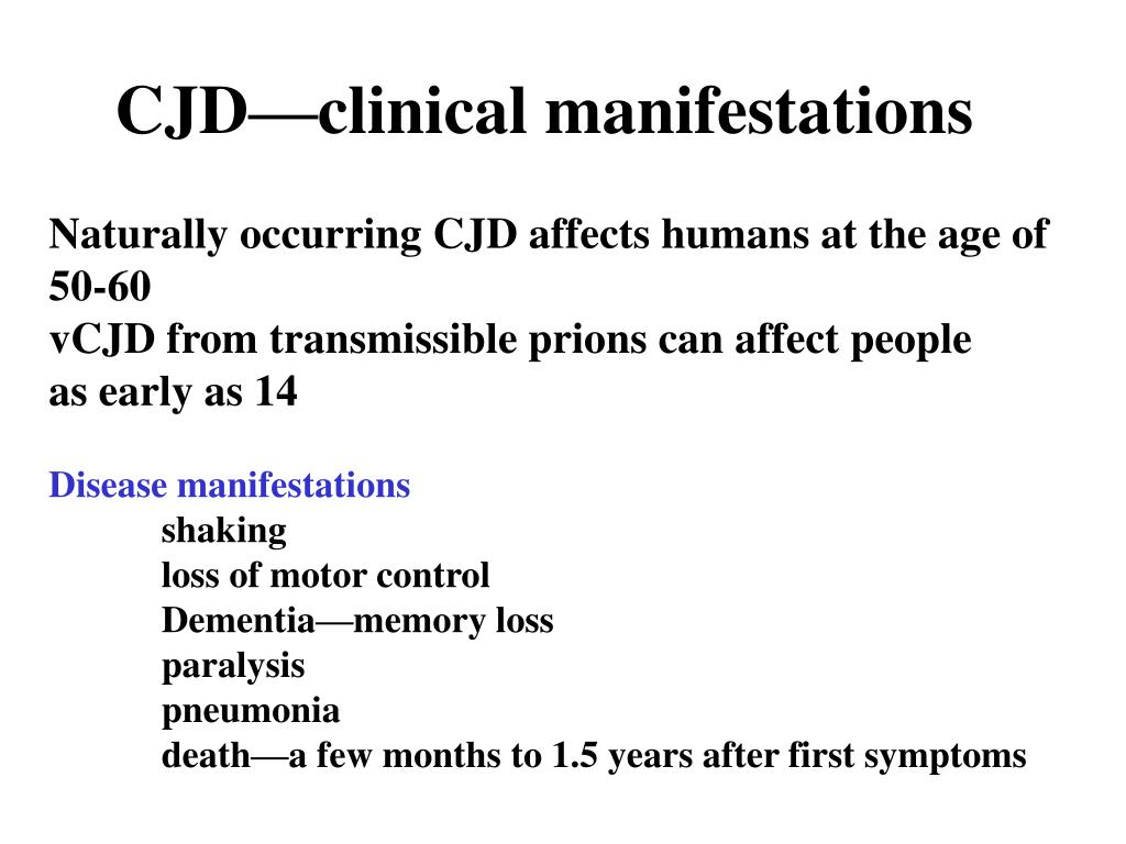 CJD—clinical manifestations