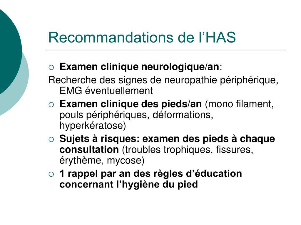 Recommandations de l'HAS