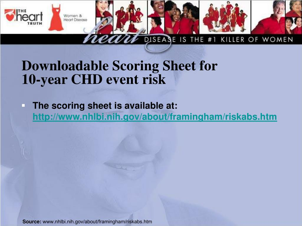 Downloadable Scoring Sheet for 10-year CHD event risk