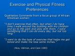 exercise and physical fitness preferences29