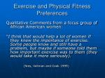 exercise and physical fitness preferences30