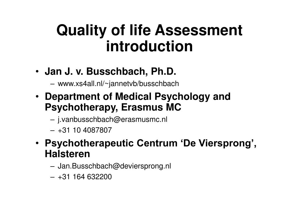quality of life assessment introduction l.