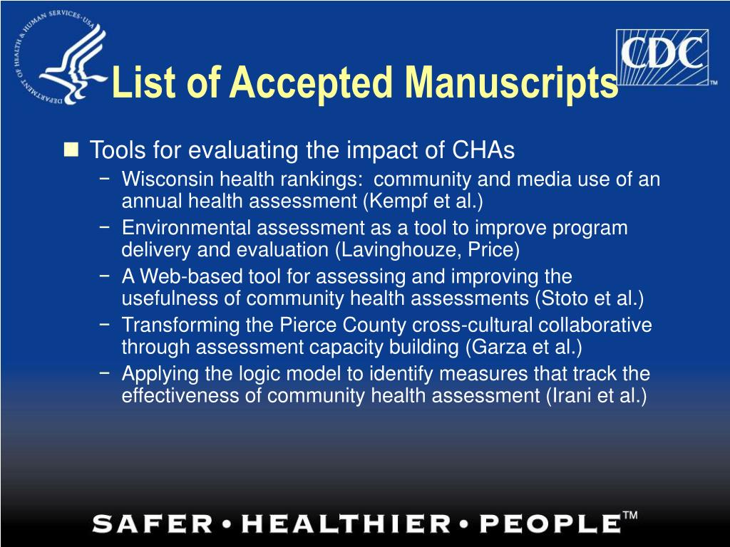 List of Accepted Manuscripts