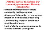 potential barriers to business and community partnerships make into opportunities7