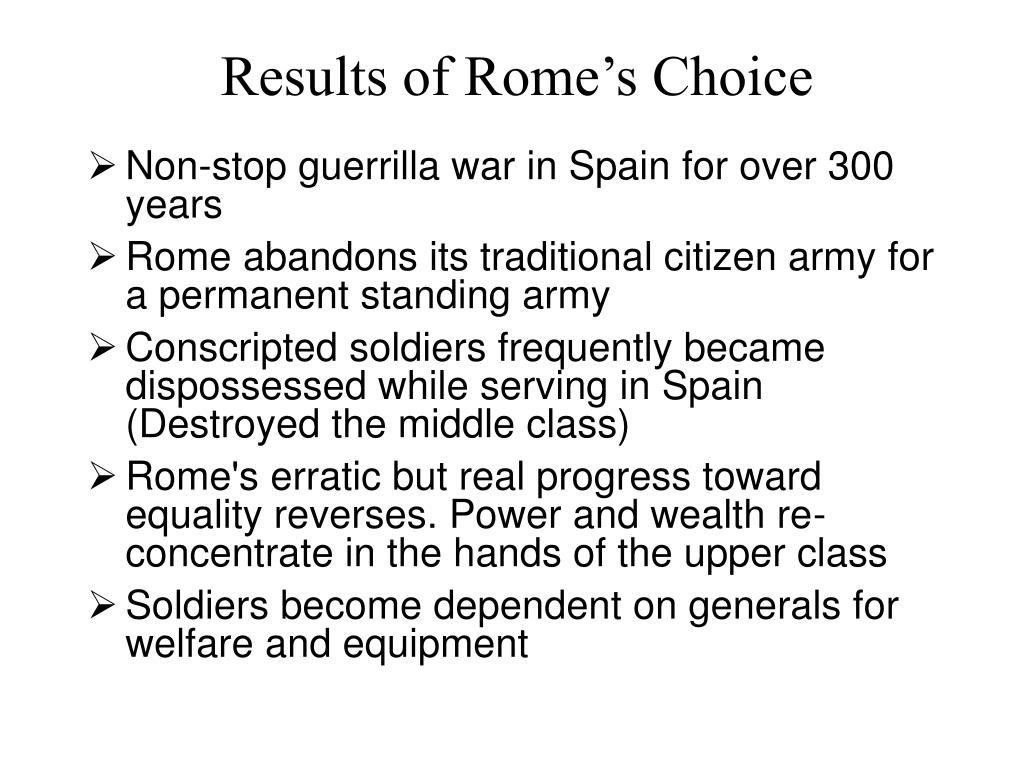 Results of Rome's Choice