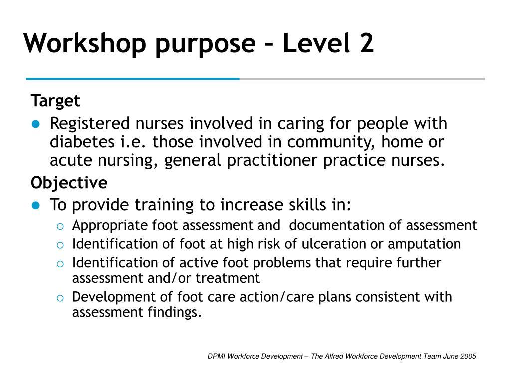 Workshop purpose – Level 2