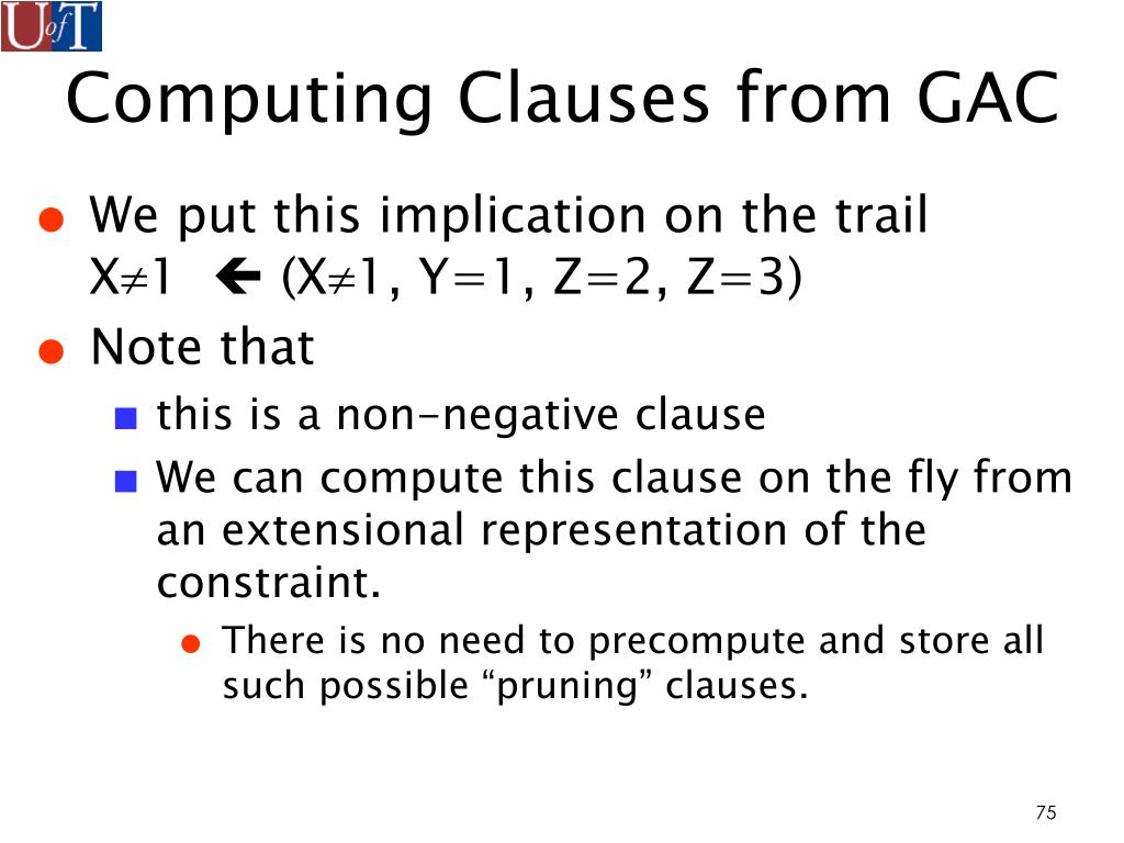 Computing Clauses from GAC