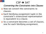 csp sat converting the constraints into clauses