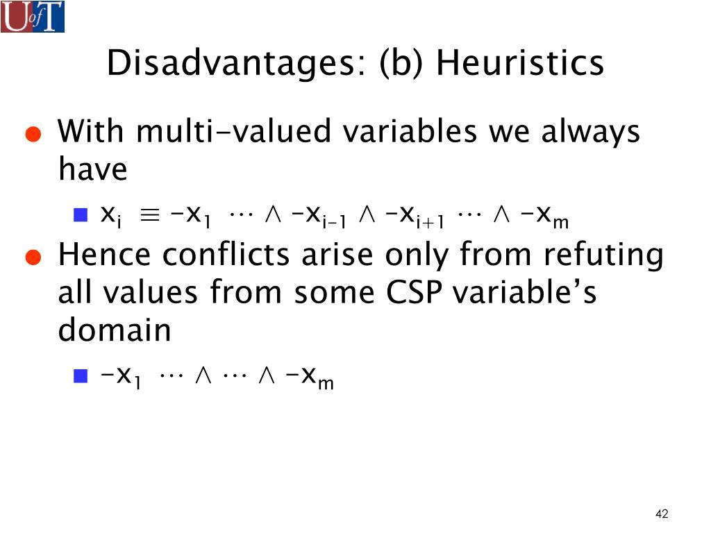 Disadvantages: (b) Heuristics