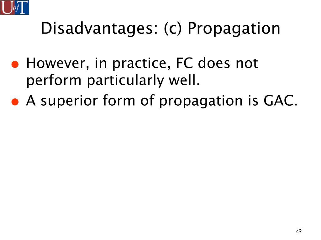 Disadvantages: (c) Propagation