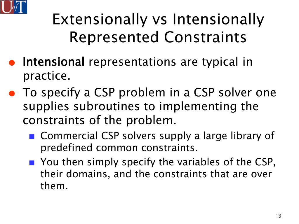 Extensionally vs Intensionally Represented Constraints