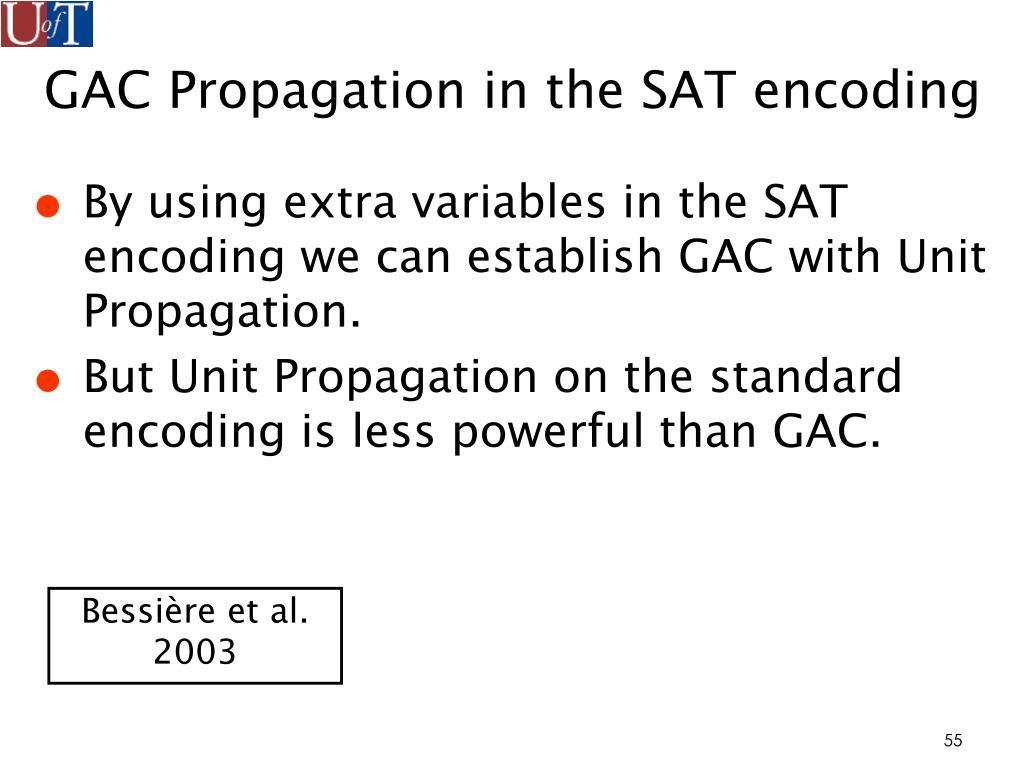 GAC Propagation in the SAT encoding