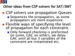 other ideas from csp solvers for sat smt