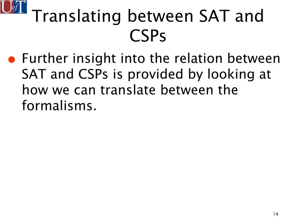 Translating between SAT and CSPs