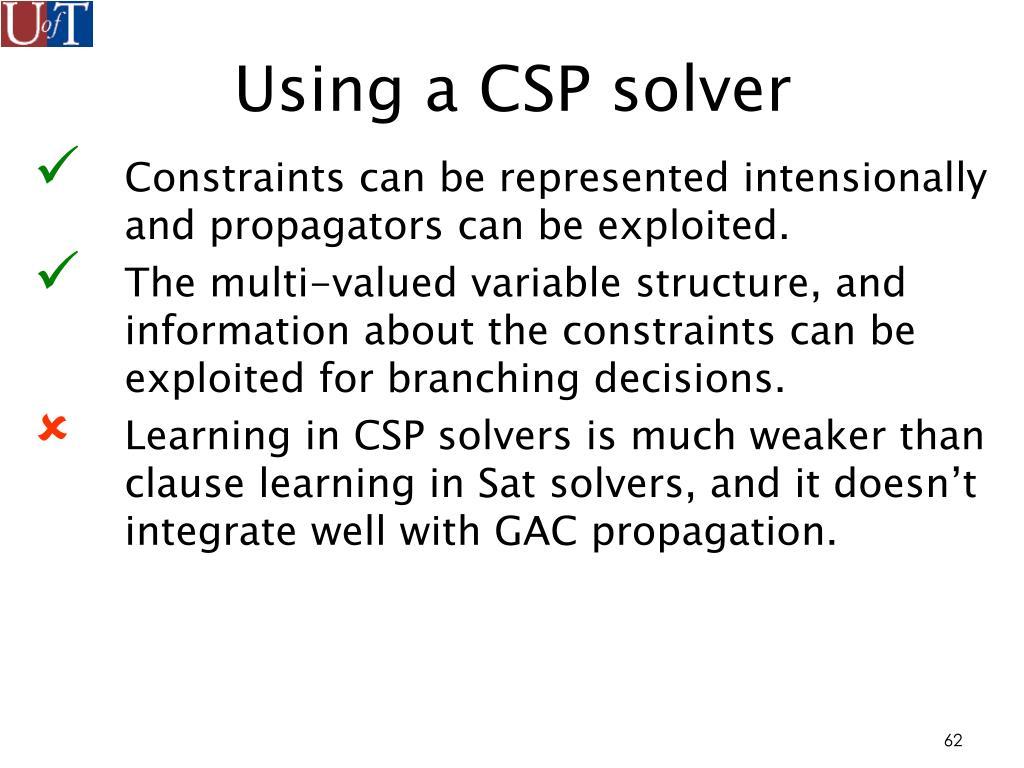 Using a CSP solver