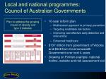 local and national programmes council of australian governments