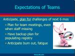 expectations of teams