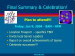 final summary celebration