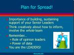 plan for spread