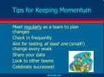 tips for keeping momentum
