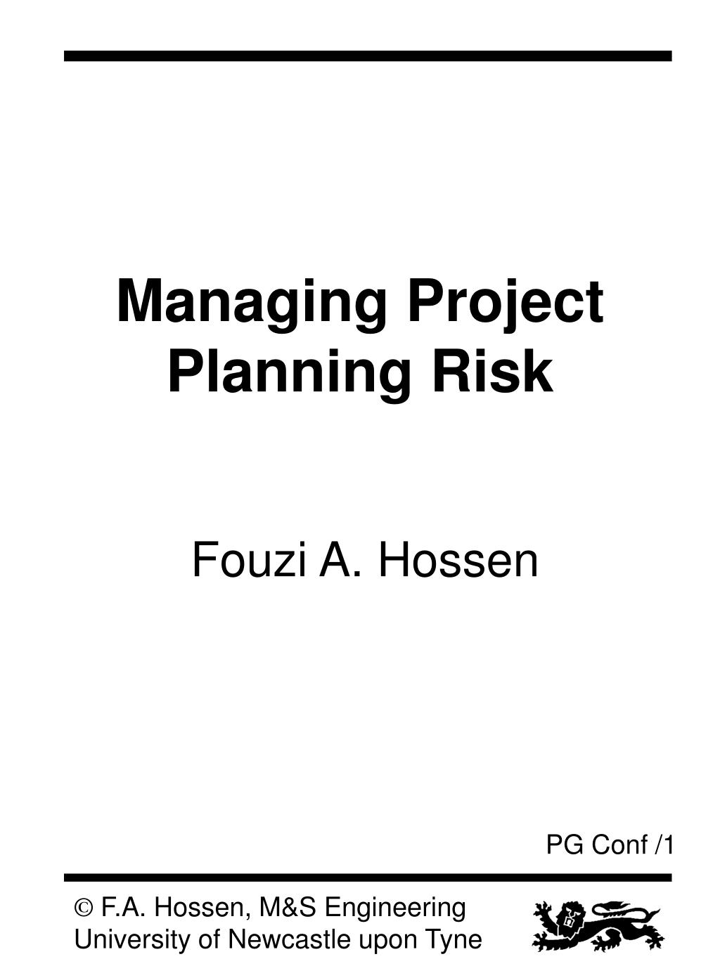 managing project planning risk l.