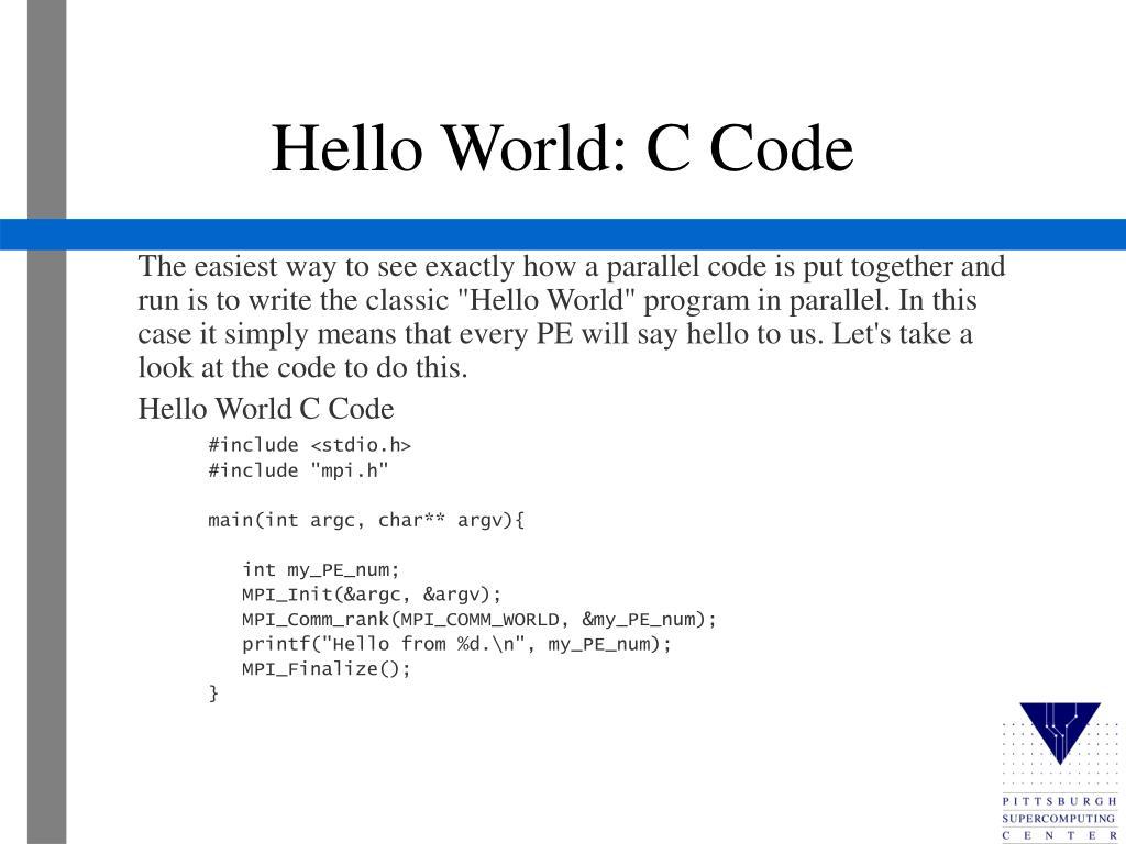 Hello World: C Code