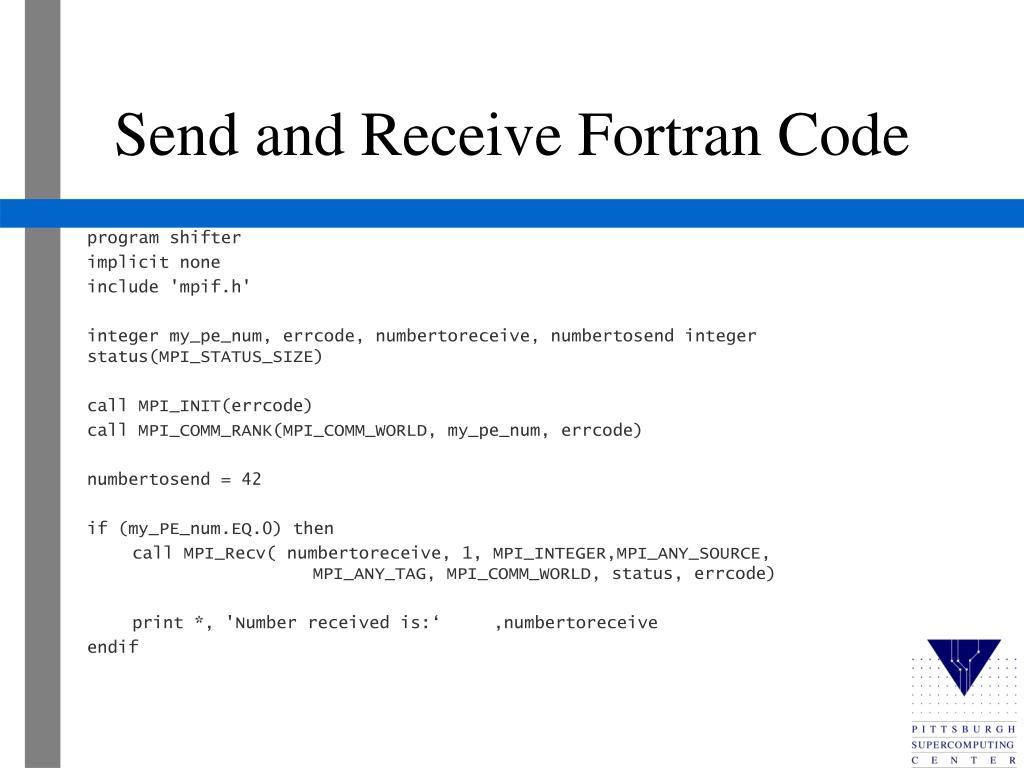 Send and Receive Fortran Code