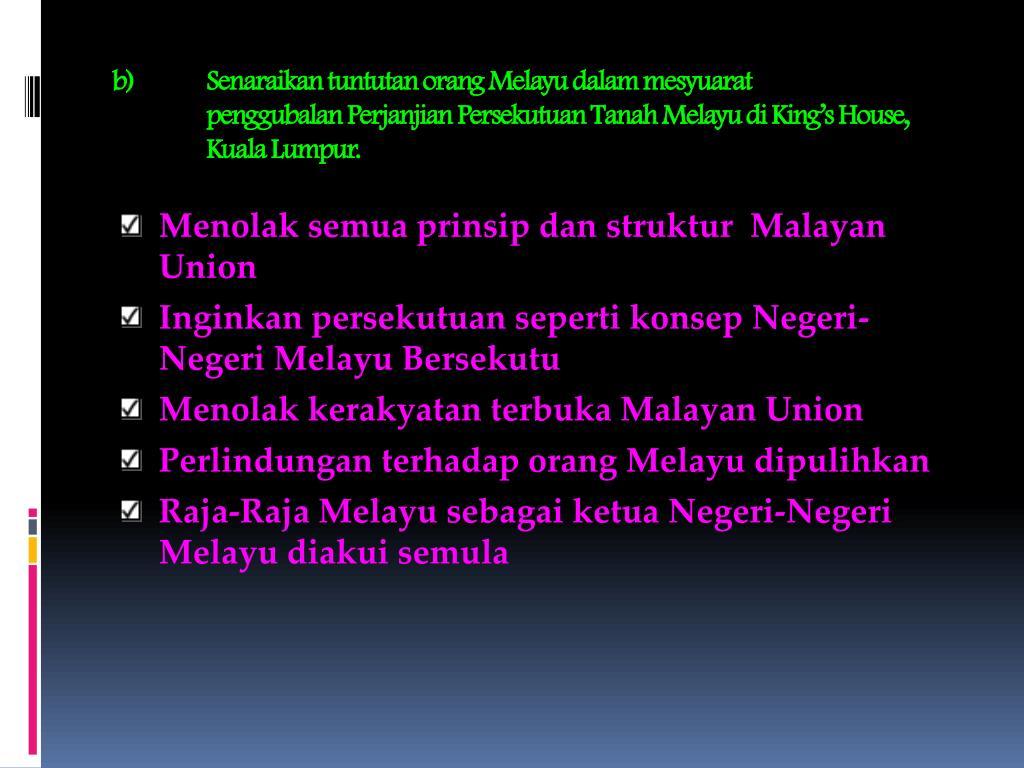 Senaraikan tuntutan orang Melayu dalam mesyuarat
