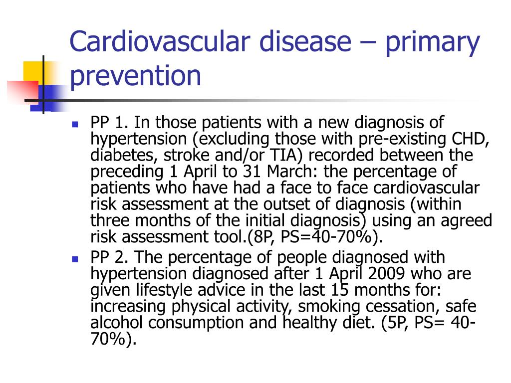 Cardiovascular disease – primary prevention