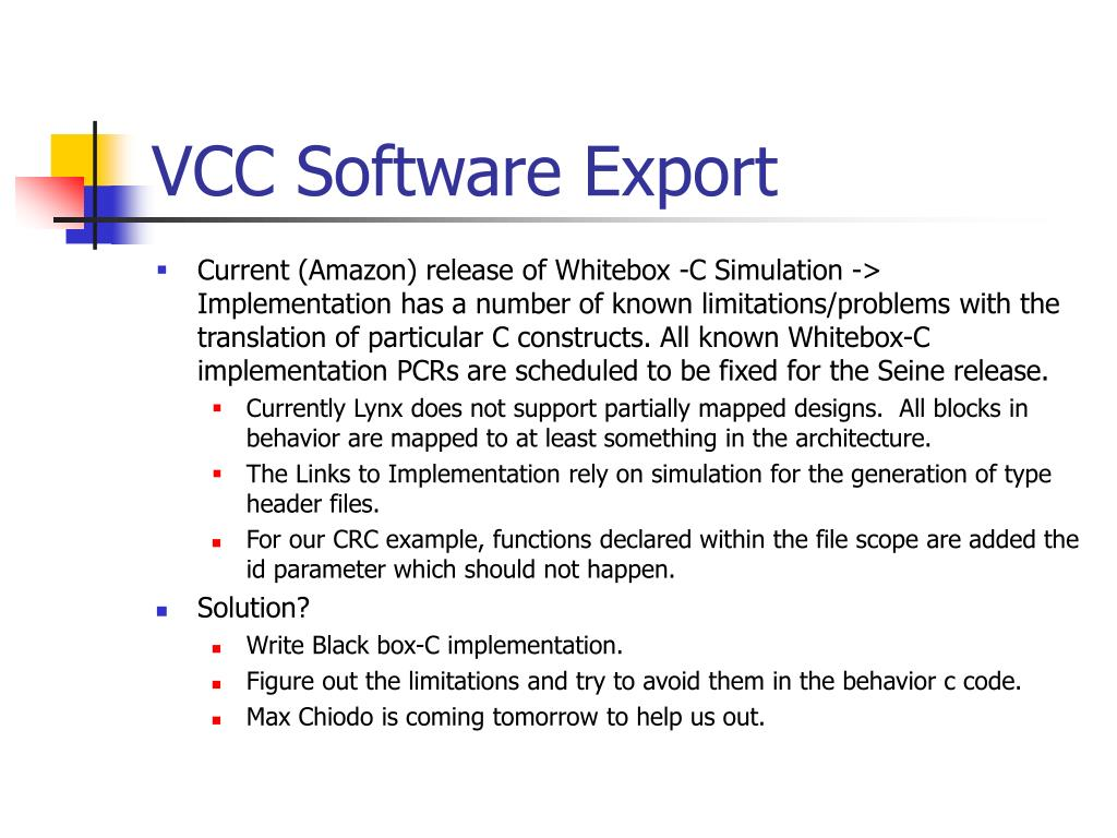 VCC Software Export